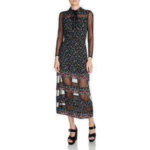 MAJE Rezia Mesh Floral Mixed Media Midi Dress
